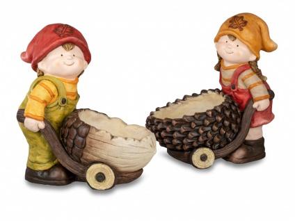 2er Set Dekofiguren Herbstkinder Junge + Mädchen mit Karre H. 39cm Formano