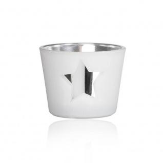 Teelichthalter MIRROR STAR STERN H. 4, 5cm D. 6cm white weiß Glas Sandra Rich W17