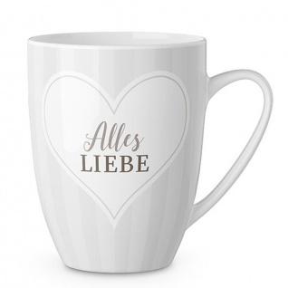 Becher Tasse GIPFELGRUSS Alles Liebe mit Herz weiß braun Porzellan LaVida