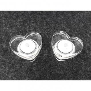 2er Set LED Teelichter LILY Herzen D. 7cm Klar aus Glas mit Batterien Sirius