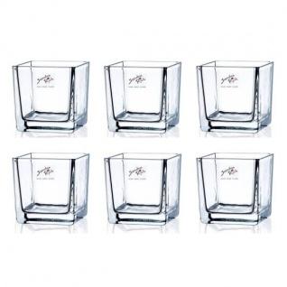 6er SET Teelichtgläser, Windlicht CUBE H. 12cm 12x12cm Glas eckig Sandra Rich