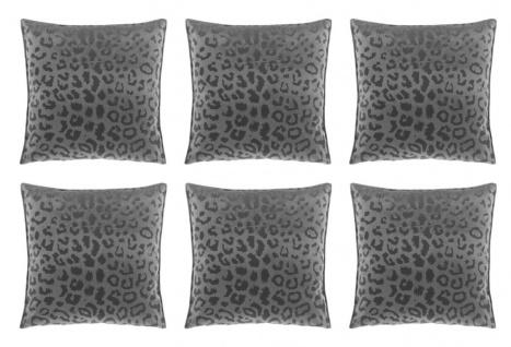 6er Set Kissen mit Füllung NALA LEO Muster 45x45cm dark grey grau Unique Living