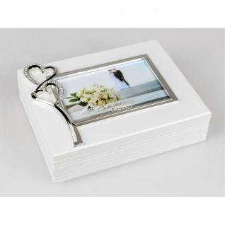 Foto Box, Schmuckdose mit Bilderrahmen 23x18 weiß mit Herzen Formano