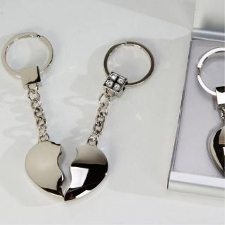Schlüsselanhänger Satz Herzen 9cm silber Formano