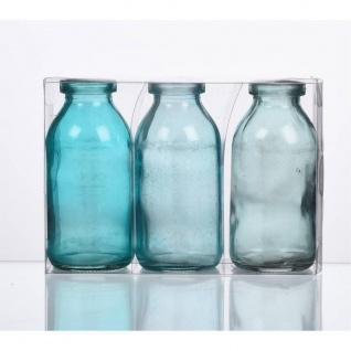 3er Pack Flaschenvasen BOTTLE H. 10cm D. 5cm blau türkis Glas Sandra Rich