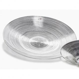 Deko Platte, Teller CIRCLE VINYL, Glas, silber, Ø 39 cm, rund, Sandra Rich WA