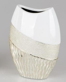 Deko Vase GOLDWAVES oval H. 20cm weiß champagner gold Keramik Formano W19