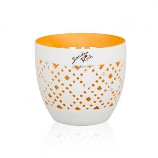 Teelichthalter ORIENT H. 8, 8cm D. 10cm weiß matt innen orange Sandra Rich WA