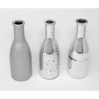 3er Set Flaschenvasen SILVER silber Glas Hakbijl