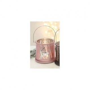 Windlicht, Teelichthalter REINDDER Glas H. 12, 5cm rosa silber Casablanca WA
