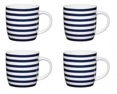4er Set Tasse MARITIM Nautical Stripes für 425ml weiß Porzellan KitchenCraft