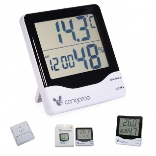 Cangaroo Thermometer 3 in 1, Hygrometer, Thermometer, digitale Uhr mit Wecker