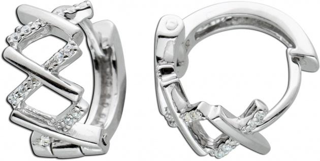 Klappcreolen Silber 925 Zirkonia Damen Ohrringe