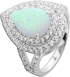 Opal Ring weiss blau Silber 925 Zirkonia tropfen