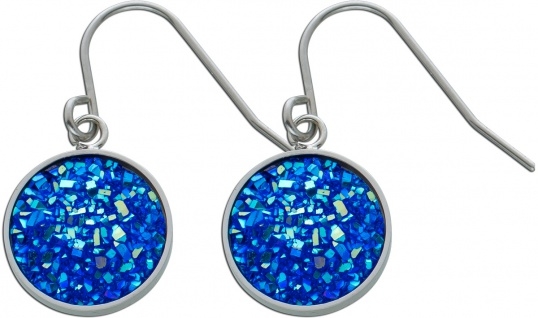 Blaue Kristall Ohrhänger Edelstahl Ohrschmuck