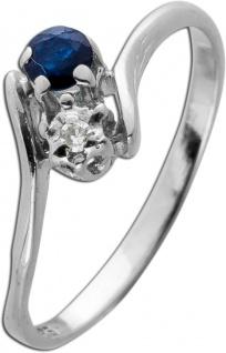 Antiker 1950 Weiss Gold 585 Ring 1 Saphir Edelstein 1 Diamant 0, 02ct