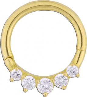 Wildcat Septum Clicker Ohr Piercing Gold 750 Scharnier Kristalle