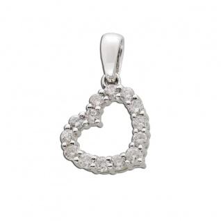 Herz Anhänger Weissgold 585 Brillant Diamant 0, 28ct W/SI