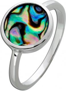 Perlmutt Ring Silber 925 Abalone Perlmutt Edelstein dunkel