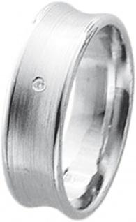 Ring in Weißgold 585/- mattiert, Rand poliert, 1 Brillant 0, 01ct