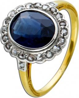 Antiker um 1900 Edelsteinrring blauen Saphir 2ct Gelb Weißgold 765