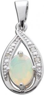 Opal Kettenanhänger Silber 925 weiße Diamanten blau gelber Opal