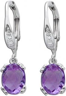 Lila Edelsteinohrringe Sterling Silber 925 violetten Amethysten