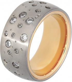 Titania Ring 30013 Bicolor Titan Teils IP Vergoldet Klare Zirkonia