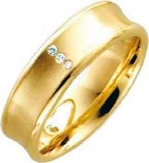 Trauring Ehering Gelbgold 14k 585/- 3 Brillanten 0, 015ct W/SI