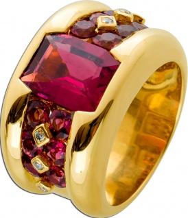 Exklusiver Rubellit Ring Gelbgold 750, 7 Rubellit Edelsteine, 6