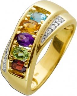 Diamant Edelstein Ring Regenbogenoptik Gelbgold 585 Poliert Diamanten