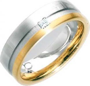 Trauring / Ehering aus Weiß- und Gelbgold 585/- (14 Karat) mit