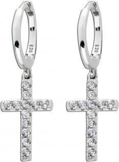 Klappcreolen Ohrringe Silber 925 beweglichen Kreuzen weißen Zirkonia