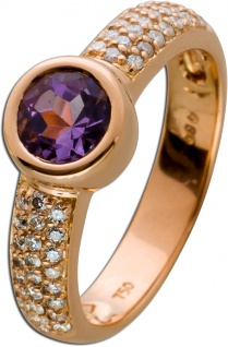Edelstein Amethyst Ring Rosegold 750 Diamant Brillant Solitär 0, 80ct