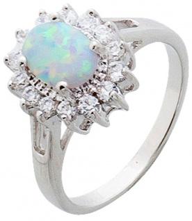Opal Ring weiss blau Silber 925 lady di style Zirkonia