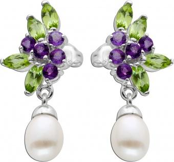 Perlen Ohrringe Ohrstecker Silber 925bunte Edelsteine weisse