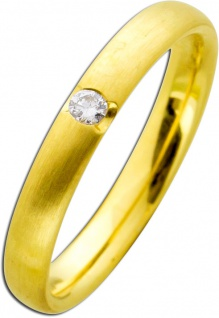 Diamanrring Gelbgold 585 mattiert Brillant 0, 05ct W/SI Brillantring