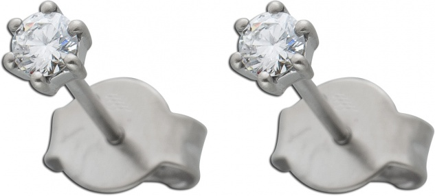 Diamant Ohrstecker 0, 20ct W/SI Platin 950 3, 4mm Krappenfassung