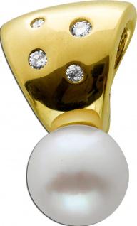 Anhänger Gelbgold 333 4 Brillanten 0, 06ct W/SI Akoya Perle 8, 2x8, 2mm