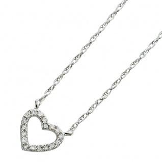 Herzkette Weissgold 585 mit 18 Diamanten 8/8 W/SI zus.0, 05ct 46cm