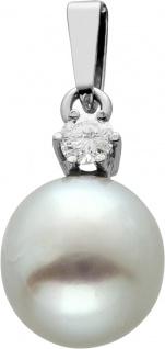 Klassischer Perlanhänger Weissgold 585, Südeseeperle, Brillant 0, 06ct