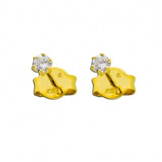 Solitär Ohrringe 0, 15ct TW/IF Diamant Brillant Ohrstecker Gold 585