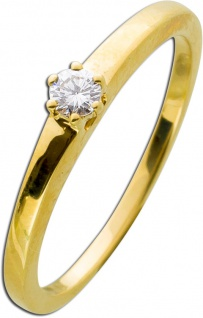 Solitärring Diamant Brillant Gelbgold 585 0, 10ct TW / Lupenrein