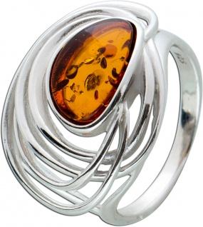 Brauner Bernstein Ring Sterling Silber 925 oval Edelstein Cabochon