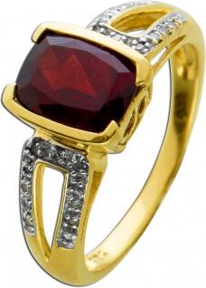 Ring Gelbgold 585/- roter Granat Diamanten 8/8 W/P 0, 11ct, Gr. 18mm
