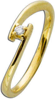 Diamantring Gold 585 Diamant Ring Brillant Verlobungsring 14kt 0, 05ct