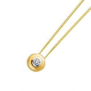 Solitär Anhänger Gelbgold Weißgold 585 Brillant 0, 10 Carat