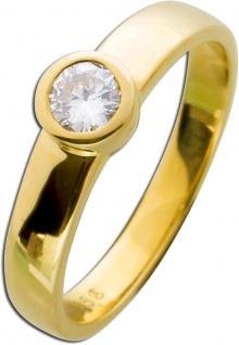 Diamant Brillant Ring Verlobungsring Gelbgold 585 Zargenfassung 0, 35ct