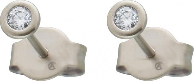 Diamant Ohrstecker 0, 20ct W/SI Platin 950 4, 10mm Zargenfassung