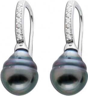 Ohrringe Silber 925 Perlen Ohrhänger Tahitizuchtperlen Zirkonia